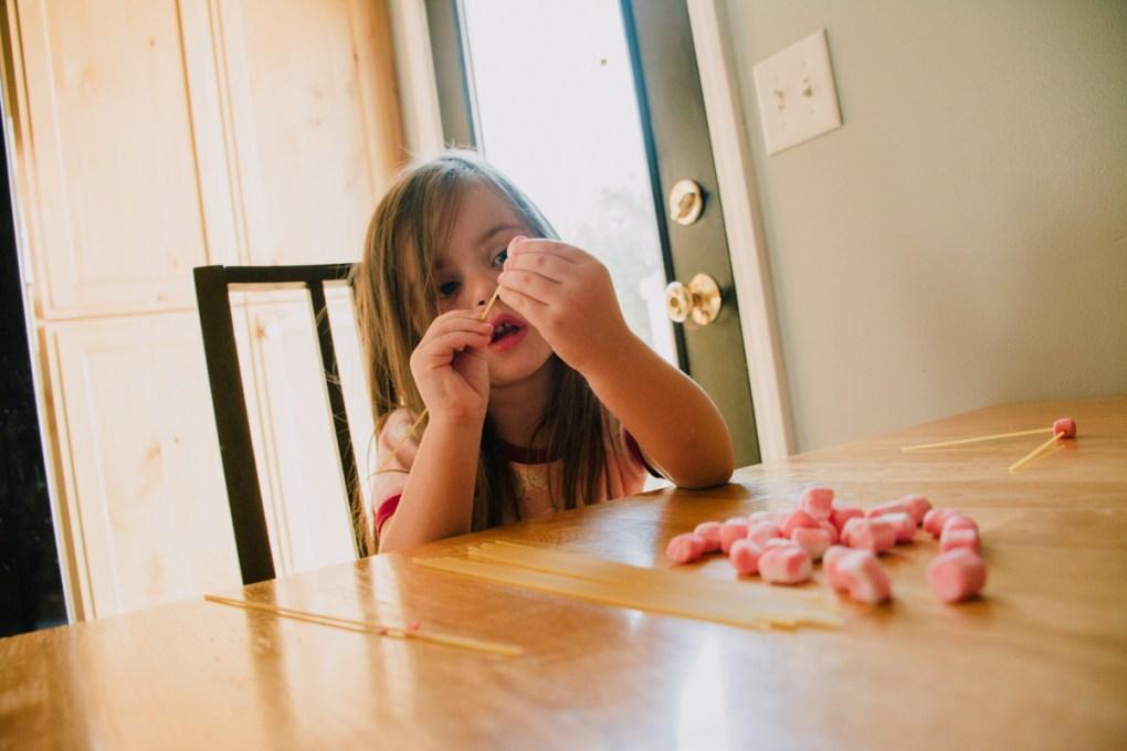 Marshmallow and Spaghetti Toddler Activity