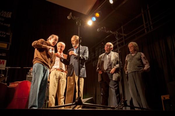 """""""Cifu"""", José Ramón Rubio, Germán Pérez, Alejandro Reyes Emisión 40 Aniversario de """"Jazz Porque Sí"""" C.M.U. San Juan Evangelista, 04/11/2011 © Sergio Cabanillas, 2011"""