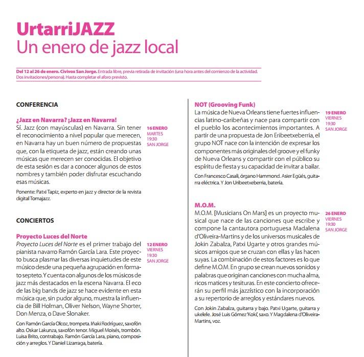 UrtarriJazz Un enero de jazz local (12 al 16 de enero de 2018. Pamplona) [Noticias]