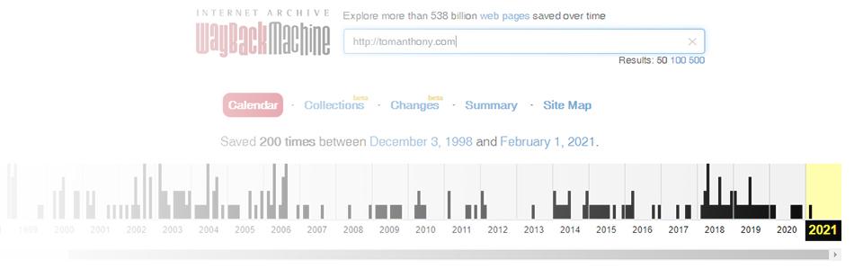 history of tomanthony dot com