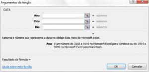 Função DATA no Excel