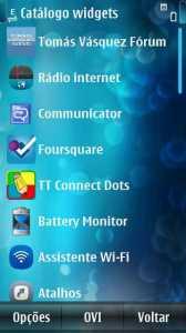 Aplicativo na lista de Widgets
