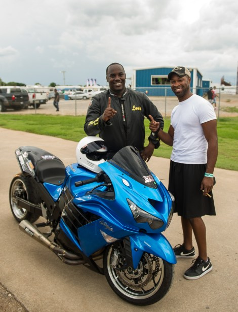 Louis Brown with his blue Kawasaki ZX-14 ready to race at Thunder Valley Raceway in Noble, Oklahoma.