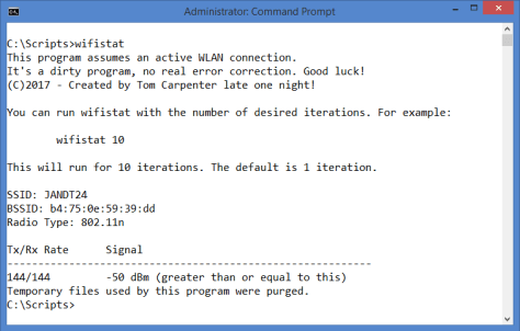 WiFiStat.exe with No Parameters