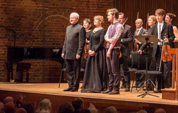 Taking a bow with George Benjamin, Claire Booth & Mahler Chamber Orchestra at premiere of 'Beautiful Caged Thing', Aldeburgh, June 2015