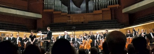 Taking a bow at the BBC Philharmonic Orchestra's premiere of 'Sonnet Machine', Manchester, April 2016