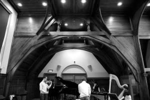 Rehearsing Darragh Morgan & Ensemble in 'Sparking & Slipping', Royal College of Music, October 2014