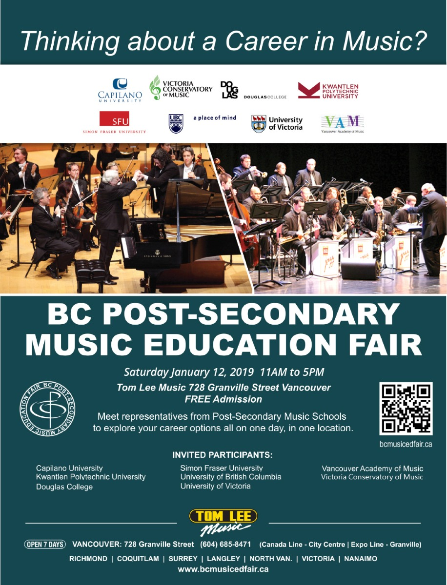 BC Post-Secondary Music Education Fair | Tom Lee Music