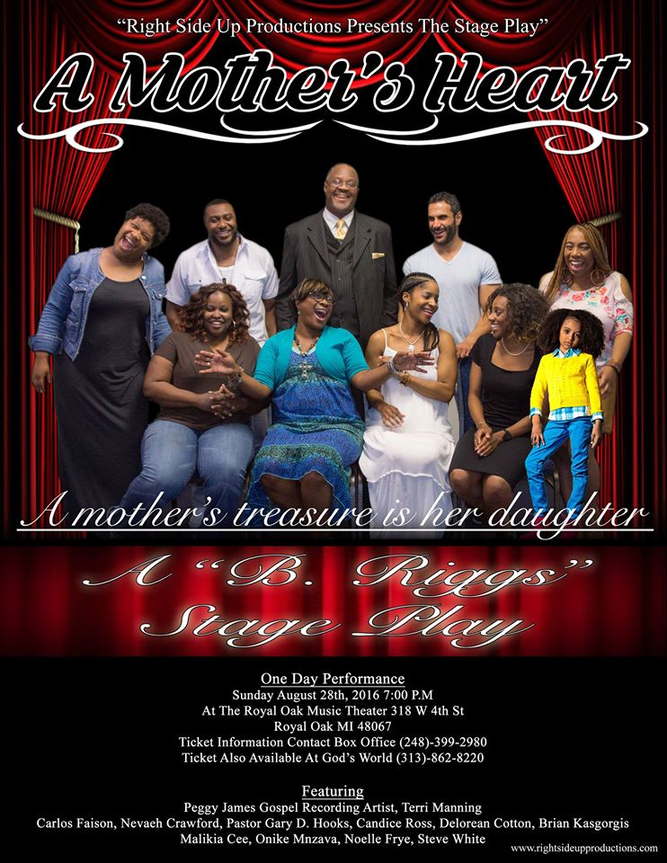 """<a href=""""http://www.rightsideupproductions.com/ticket-information.html""""><em>A Mother's Heart</em></a>, written and directed by Betty Riggs."""