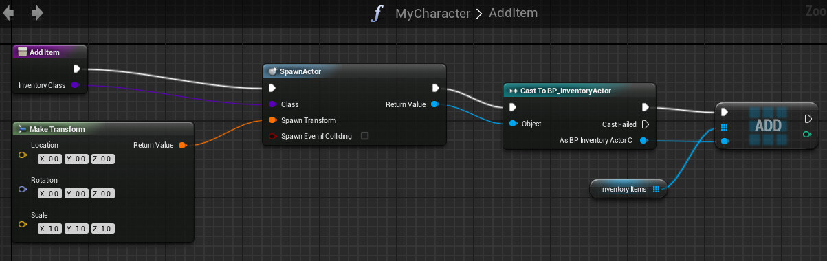 Tutorial basic inventory system in blueprint tom looman tip to cast the return value of spawnactor you must drag a line from the return value and make sure context sensitive is enabled malvernweather Image collections