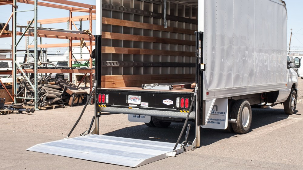 medium resolution of tommy gate railgate lift in the down position on a box truck
