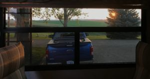 Sunset view out back window at Rustic Barn RV