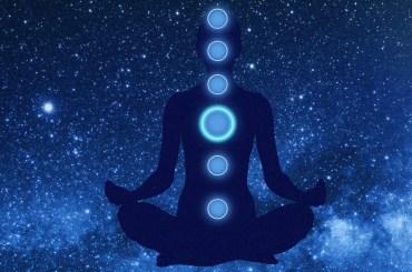 a figure meditating
