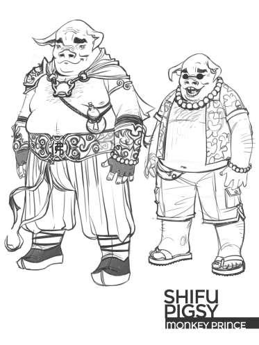 Diseño Shifu Pigsy Monckey Prince