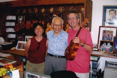 Jan and me with Fred Kamaka at his uke factory in Honolulu
