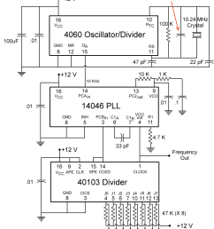 how it works the 4060 is a crystal oscillator divider the crystal is 10 24 mhz that is divided by 1024 resulting in a 10khz square wave out on pin 15  [ 850 x 1100 Pixel ]