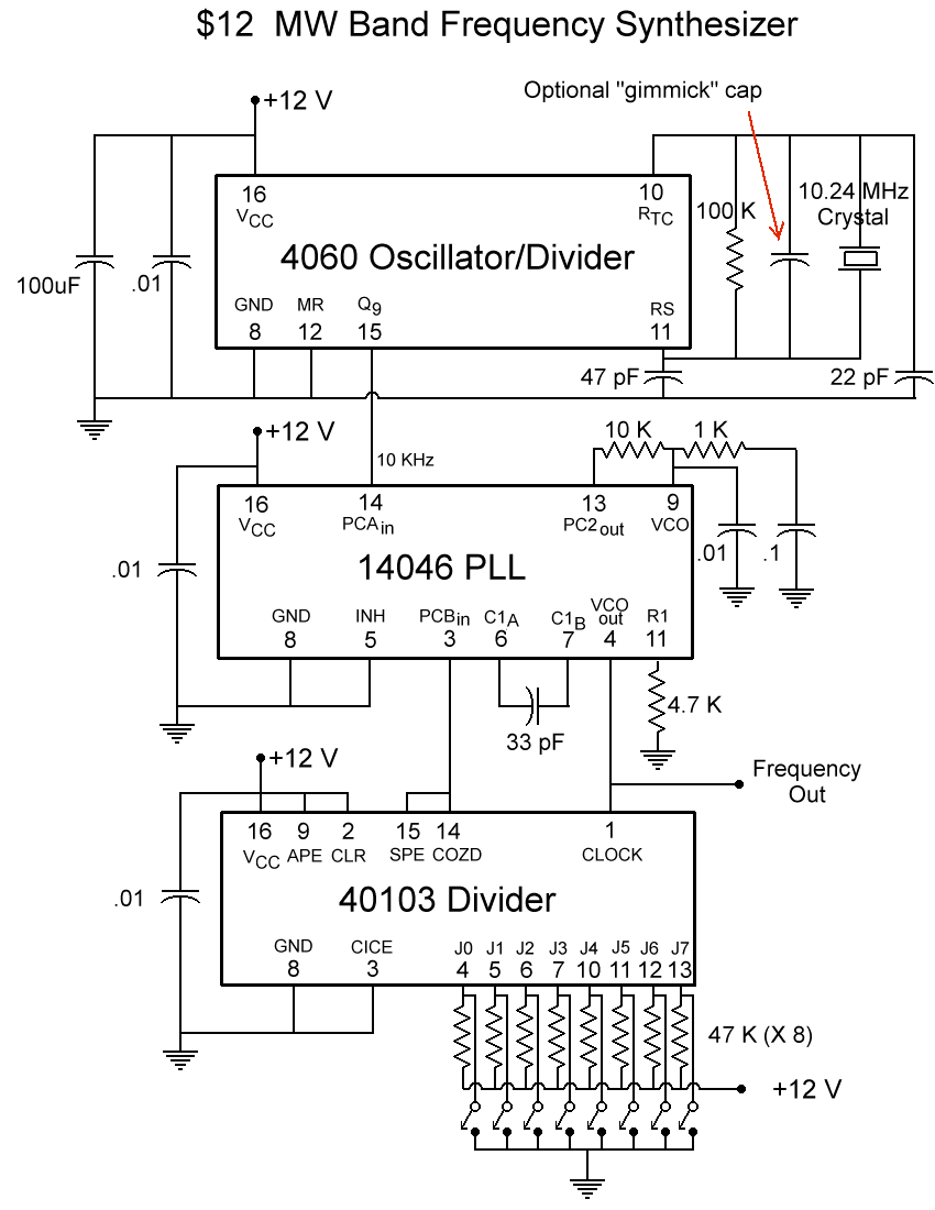hight resolution of how it works the 4060 is a crystal oscillator divider the crystal is 10 24 mhz that is divided by 1024 resulting in a 10khz square wave out on pin 15
