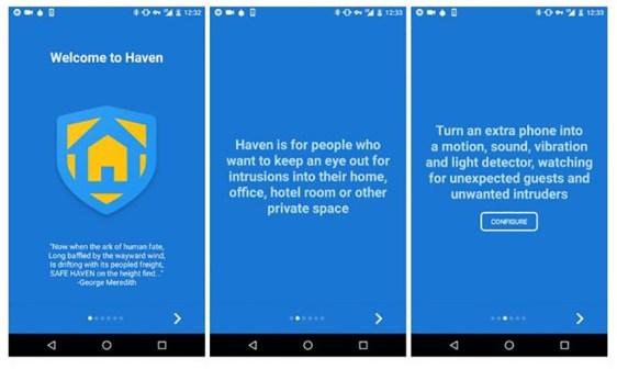Immagini App Haven suggerita da Snowden