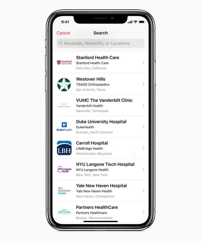 iOS 11 3 health providers search screen 03292018