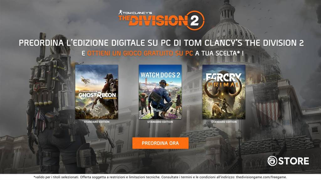 The Division 2: Un gioco Ubisoft in regalo per chi prenota una copia PC