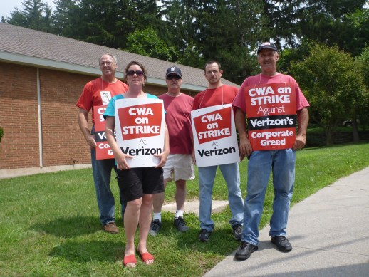 Verizon Union Workers on strike, Stamford, New York.