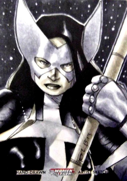 Huntress Sketch Card by Artist Richard Cox