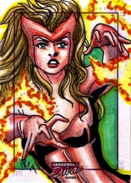 Marvel SCARLET WITCH sketch card by Allen Geneta