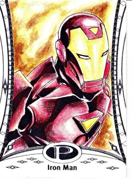 2014 Marvel Premier Iron Man base sketch by JC Fabul AWESOME Sketch Card Artist