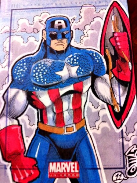 Marvel Sketch Card 2011 MARVEL UNIVERSE CAPTAIN AMERICA George Davis Sketch Card Artist