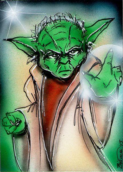 STAR WARS YODA Original Sketch Card Painting by Bianca Thompson Sketch Card Artist