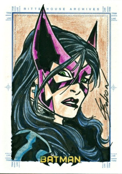 2008 BATMAN ARCHIVES SKETCH CARD CHRIS BOLSON HUNTRESS Sketch Card Artist