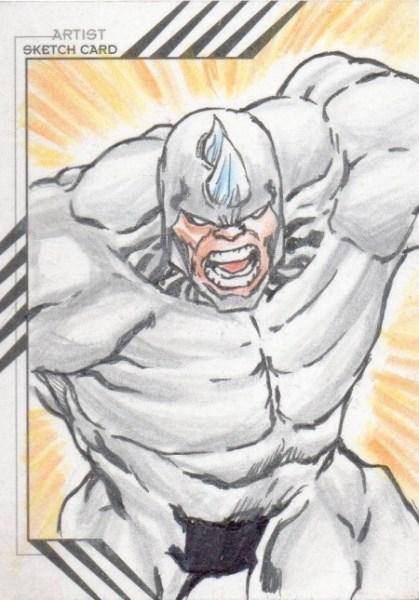 Details about 2015 Fleer Retro Marvel Character Sketch Raymundo Racho 1/1 Rhino Great Sketch Card Spiderman's Enemy