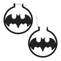 Batman Logo Matte Black Cut Hoop Earrings