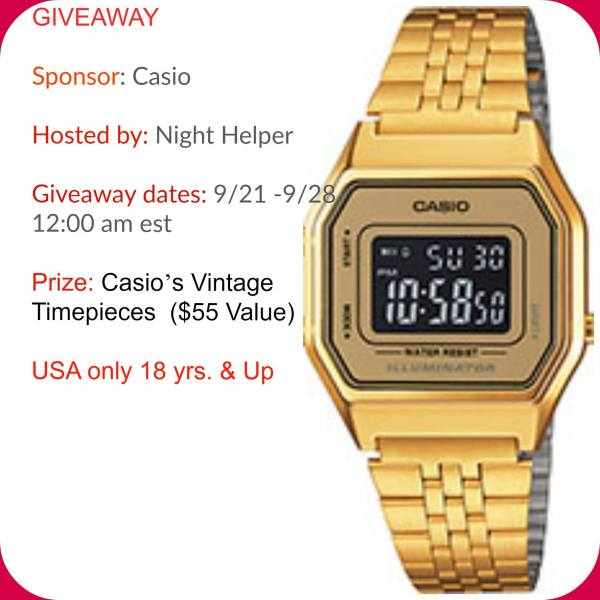 Win a Watch in the Casio's Vintage Timepieces Giveaway Good Luck from Tom's Take On Things