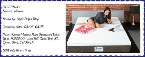 iKrema Memory Foam Mattress Giveaway Ends 3/17