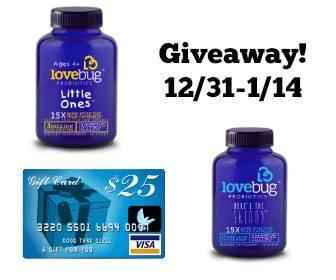 Lovebug Probiotics Giveaway - $25 Visa Gift Card + Product Samples Ends 1/14