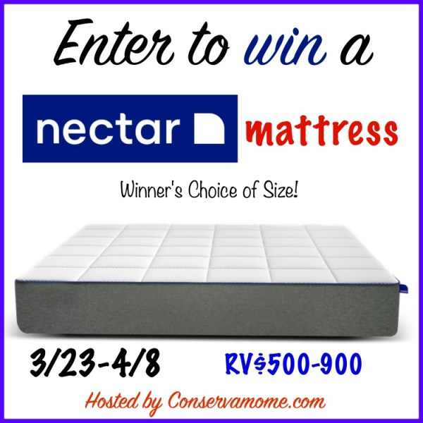 Nectar Mattress Giveaway ~ Get a good nights sleep Ends 4/8