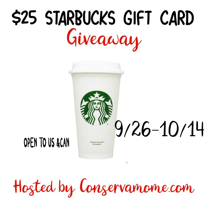 $25 Starbucks Gift Card Giveaway Ends 10/14 Good Luck and go grab some coffee!
