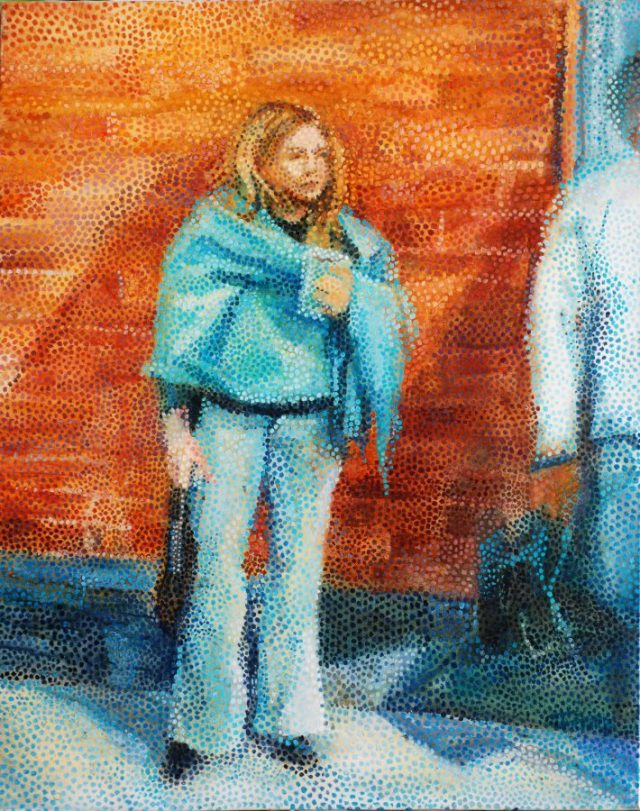 """At The Bus Stop"" pointillism."