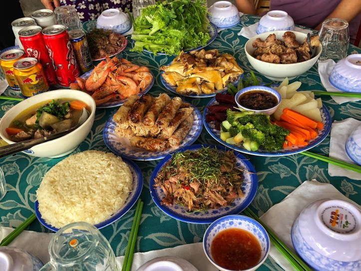 a wide range of home cooked vietnamese food for a feast