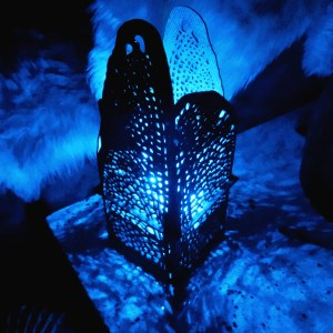 Dragonfly Wing lamp in hardboard with fairy lights