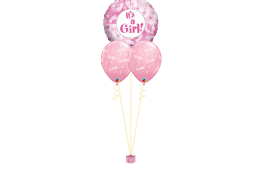 Helium newborn baby balloon bouquet stamped - 1 foil balloon and 2 stamped balloons It's a girl