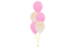 Helium pastel balloon bouquet -confetti ballons and pastel colored balloons - 12 lv