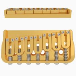Hipshot 7 String Fixed Guitar Bridge Gold