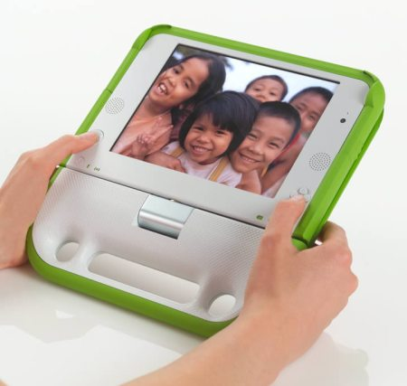 Green and white e-book One Laptop per Child (Olpc)