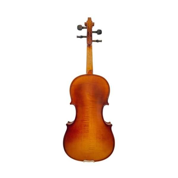 Produktbillede af bagsiden af violin med hvid baggrund