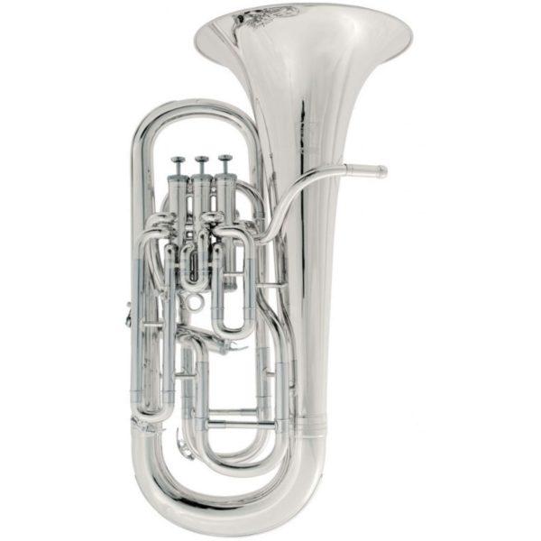 Produktbillede af en euphonium med sølv-finish med hvid baggrund