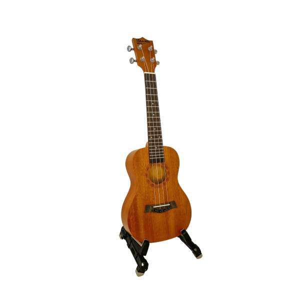 Produktbillede af en koncert-ukulele med hvid baggrund
