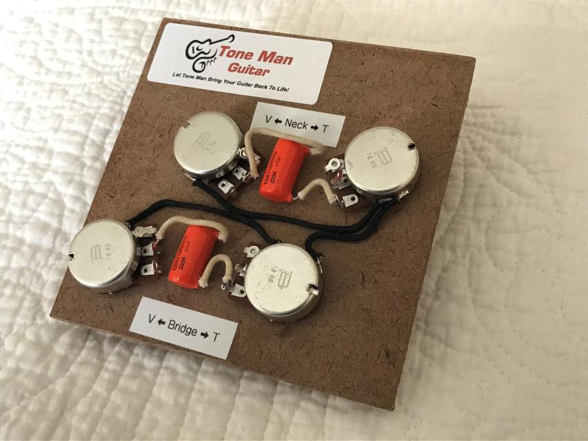 wiring diagram for les paul style guitar telecom network microsoft tone man improvement upgrade kits vintage 50s gibson prewired harness long shaft pots orange drop caps