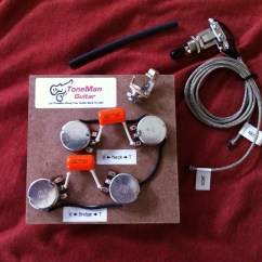 Wiring Diagram For Les Paul Style Guitar Apollo Gate Opener Tone Man Improvement Upgrade Kits Vintage 50s Gibson Prewired Harness Long Shaft Pots Orange Drop Caps With 3 Way Switch